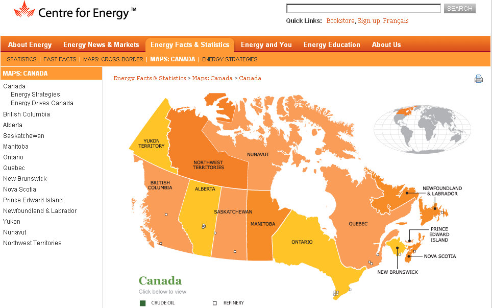 centre for energy canadian oil refineries map